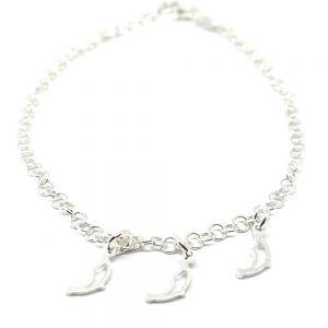 Tobillera de plata Delfines